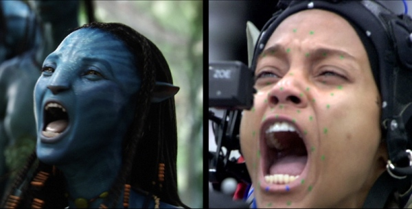 "Zoë Saldaña performance capture in ""Avatar"""