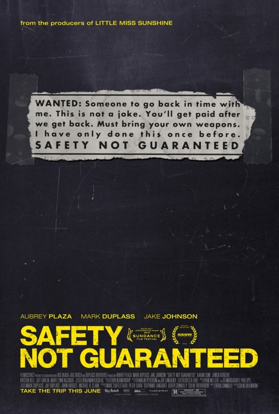 "Poster for ""Safety Not Guaranteed"""